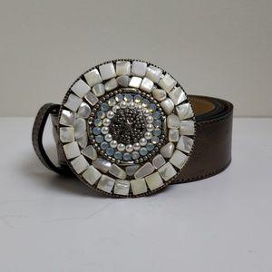 Leatherock embellished buckle leather belt
